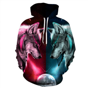 Wolf Printed Casual Hooded Sweatshirt