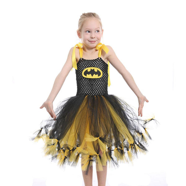 Halloween Girl Black Yellow Batman Mesh Tutu Kids Dress Children's Dress