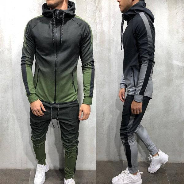 Gradient Printed Zipper Hip Hop Sports Men's Suit