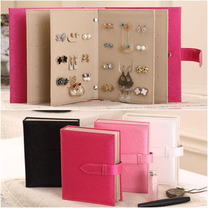 Leather Earrings Storage Book Creative Jewelry Box