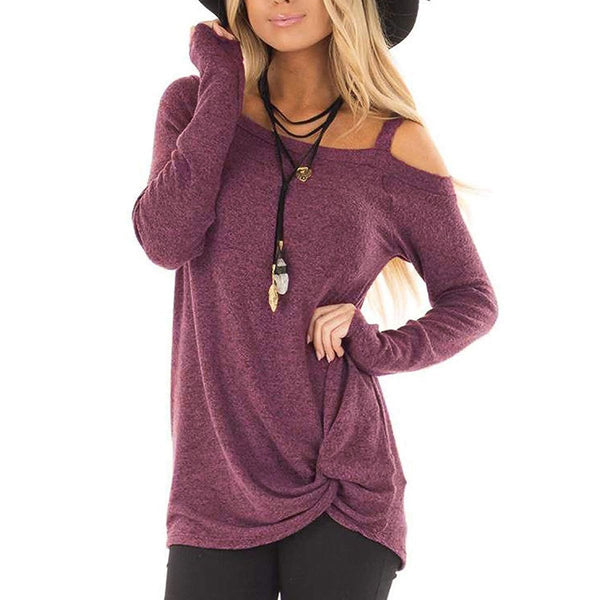 Off Shoulder Long Sleeve Knotted Ruched Shirt