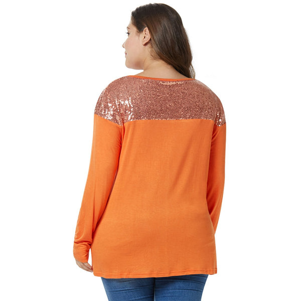 Plus Size Long Sleeve Lace Insert T-shirt