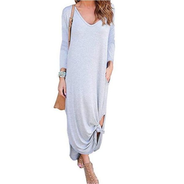 Casual Loose Pocket Long Sleeve Maxi Dress