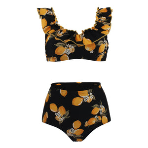 Printed High Waist Bikini Back Button Sexy Split Ladies Swimsuit