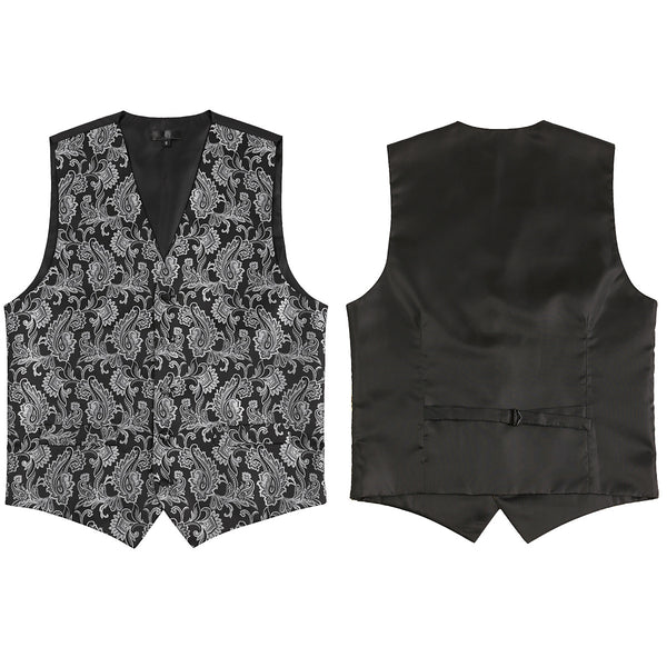 Casual Vest Three-Piece Set: Printed Vest/Breast/Tie
