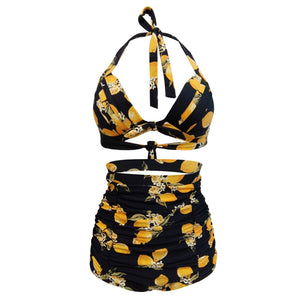 Lemon Print Vintage High Waist Bikini Set