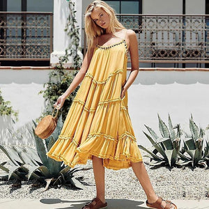 Solid Color Beach Dress
