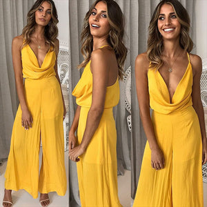 Back Cross Backless Wrapped Chest Jumpsuit