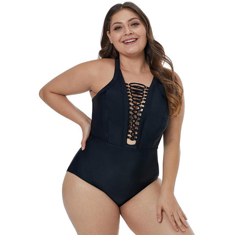 One Piece Lattice Front Plus Size Swimsuit