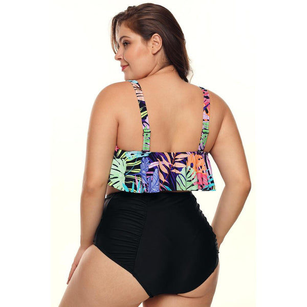 Plus Size Padded Stripe Flounce Bikini Bathing Suit