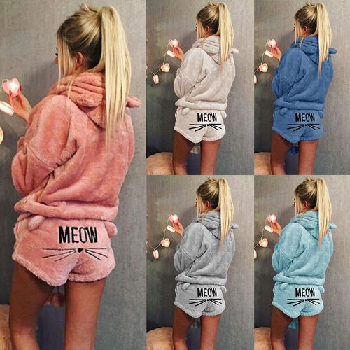 Fashion Solid Color Warm Two Piece Cute Cat Pajamas