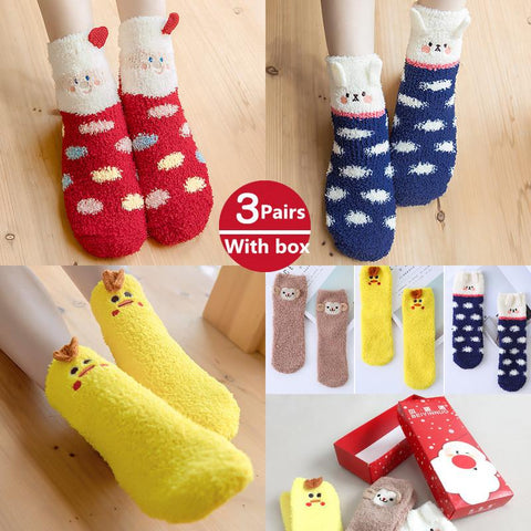 3 Pairs of Christmas Socks with Gift Box