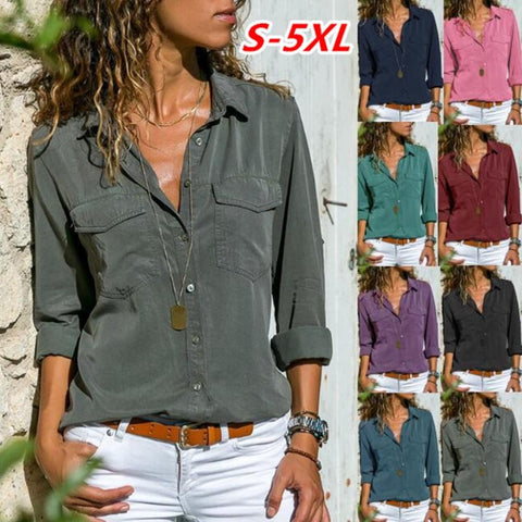 Shirt Lapel Long Sleeve Shirt S-5XL