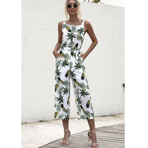 Pineapple Printed Women Casual Strap Sleeveless Jumpsuit Wide Leg Pants