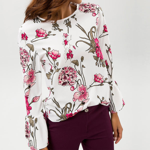 Women Casual Chiffon Shirt Round Neck Flare Long Sleeve Print Top