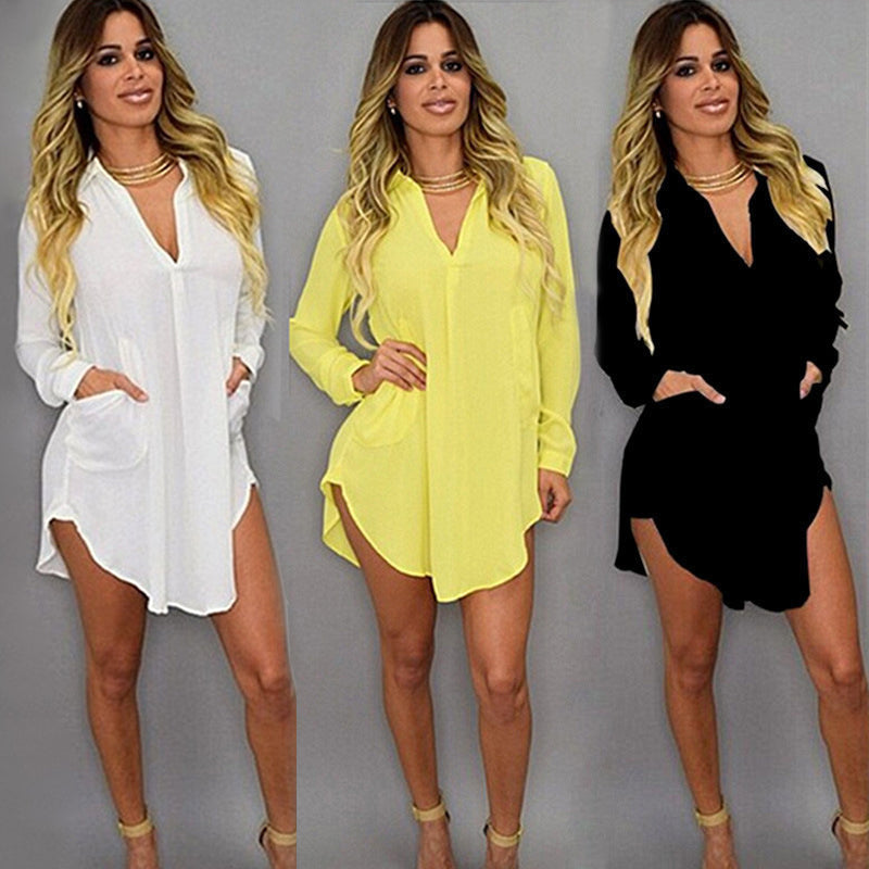 Long Sleeve V-neck Irregular Chiffon Shirt Dress