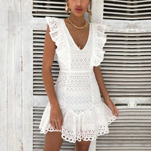Elegant Cotton Embroidery Ruffled High Waist Summer Mini Dress