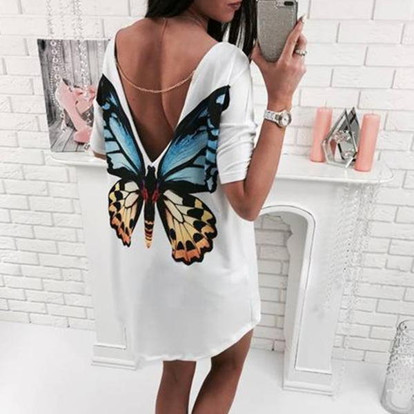 Butterfly V neck mini  t shirt for women
