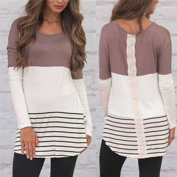 Fashion Lace Striped Long Sleeve Blouse Tunic Women's Shirt