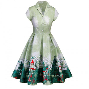 Christmas Large Size V-neck Print Vintage Dress