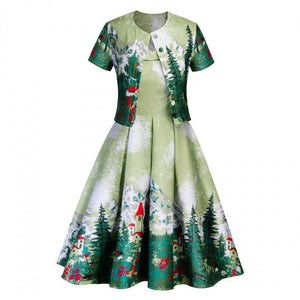 Two-piece Christmas Dress Print Large Size Dress