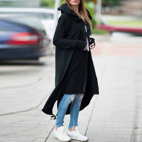 Long Sleeve Zip-up Asymmetric Hem Long Hooded Coat