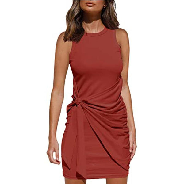 Women Fashion Solid Sleeveless Drawstring Slim Round Neck Summer Casual Ruched Bodycon Mini Short Dress