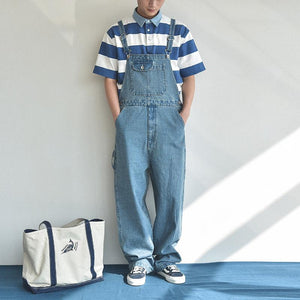 Men Retro Loose One Piece Denim Bib Overalls Ripped Jeans Jumpsuit Coverall Workwear Pants