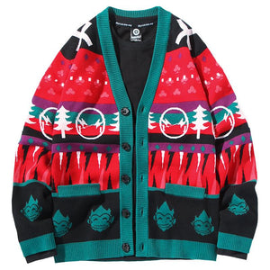 Christmas Cardigan Sweater V-neck Loose Sweater Jacket Ugly Christmas Sweater