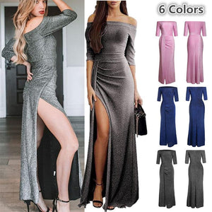 Off the Shoulder Sexy Elegant High Slit Female Sequins Maxi Party Dress