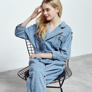 Women's Denim Overalls Loose Wide Leg Pants One Piece Jumpsuit Romper