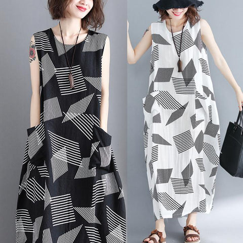 Large Size Geometric Striped Vest Loose Cotton Maxi Dress
