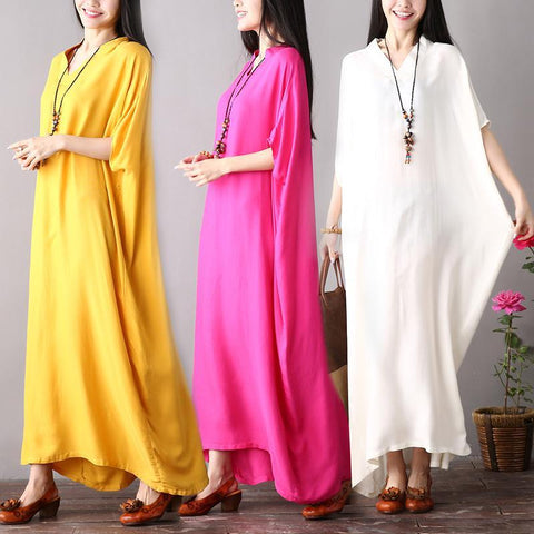 Plus Size V-neck Bat Sleeve Cotton Skirt Solid Color Loose Dress