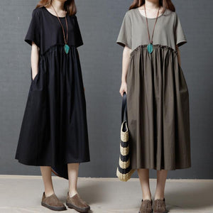 Large Size Cotton and Linen Loose Dress
