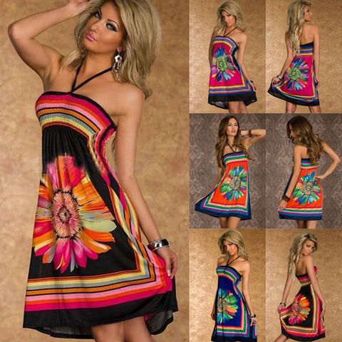 Halter Loose Print Sleeveless Spaghetti  Strapless Summer Dress