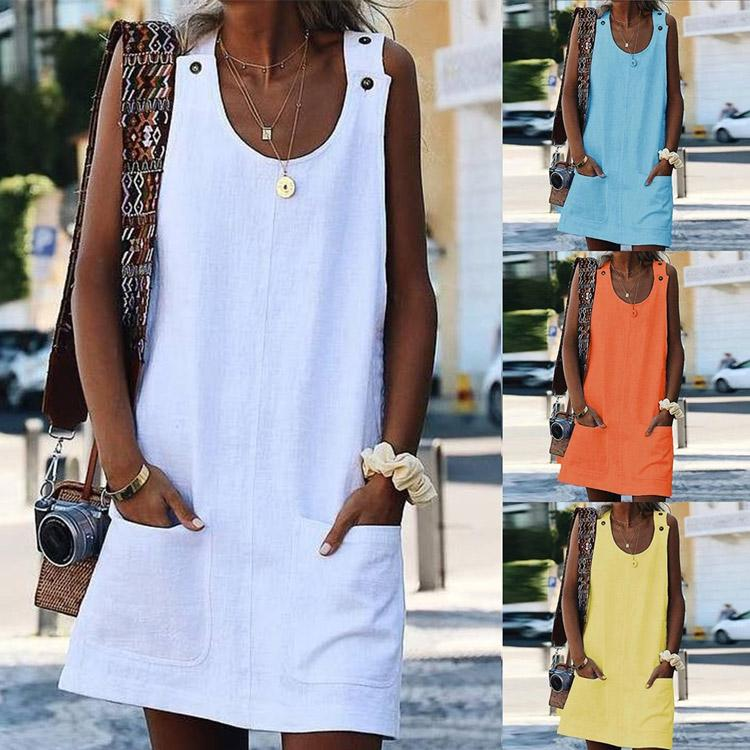 Loose Casual Solid Color Summer Tank Dress