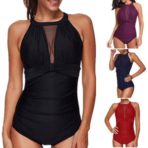 Women One Piece High Neck V-Neckline Mesh Ruched Monokini Swimsuit