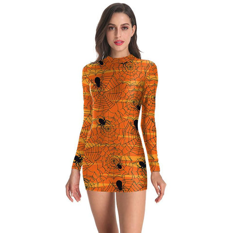 Halloween Spider Web Print Long Sleeved Dress