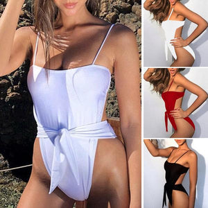 Sexy Solid Color Knotted One-Piece Swimsuit