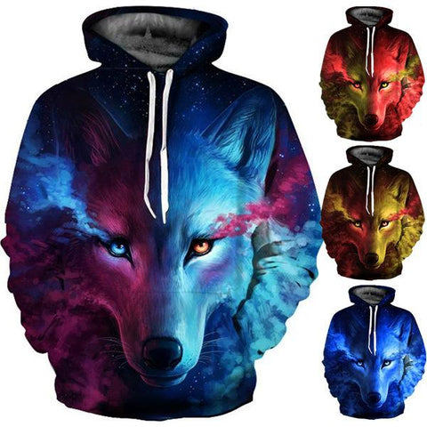 3D Print Space Galaxy Wolf Sweatshirt Jacket Pullover Hoodie Sweater