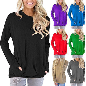 Women Plain Long Sleeve Round Neck Pocket Casual Shirt Blouse Tunic Tops