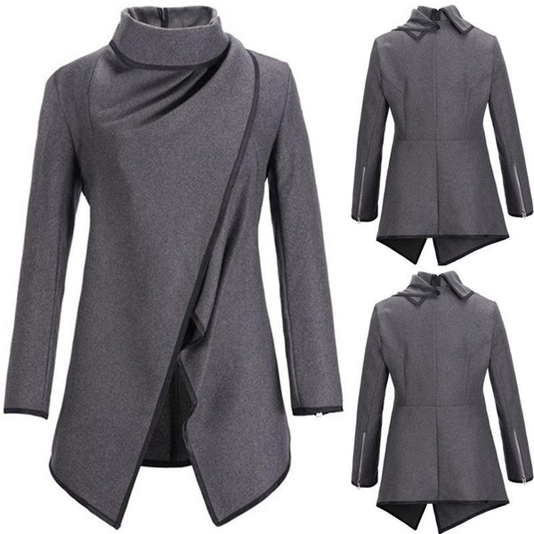Fashion Sexy Winter Long Sleeve Solid Color  Irregular Slim Coat