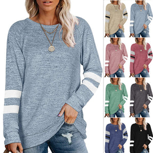 Women Patchwork Long Sleeve Round Neck Casual Loose T-shirt Blouse Tops