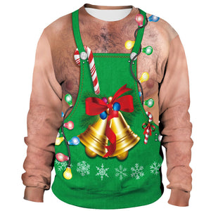 Xmas Bell Print Ugly Christmas Long Sleeve Sweatshirt