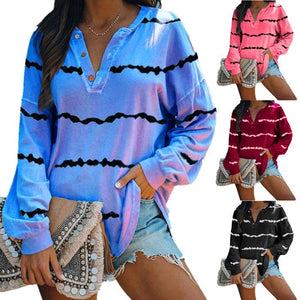 Women Fashion Stripe Printed Button V Neck Long Sleeve Casual Shirt Blouse T-shirt Tops