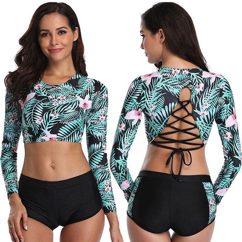 Women Floral Printed Sexy Two Piece Bikini Set Long Sleeve Swimwear Crop Top and Bottom Bathing Suit