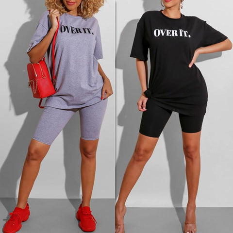Women Fashion Two-Piece Letter Print Casual T-shirt Shorts Set