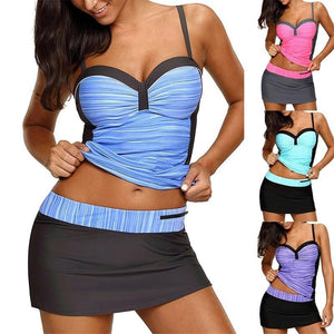 Sexy Strap Ruched Swimwear Patchwork Padded Push Up Two Piece Bikini Set Women Swimsuit Tankini Bathing Suit With Skirt