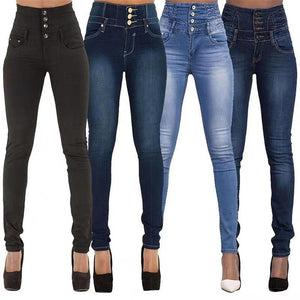 High Waist Slim Fit Large Size Jeans