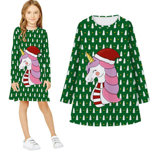 Girls Christmas Dress Print Casual Long Sleeve Dress
